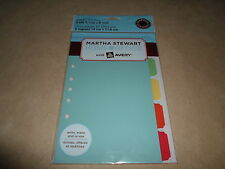 "Martha Stewart Home Office 5 Tab Plastic Dividers~5 1/2"" X 8 1/2""~NEW IN PACKAGE"