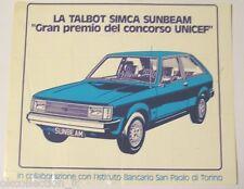 VECCHIO ADESIVO AUTO anni '70 / Old Sticker TALBOT SIMCA SUNBEAM (cm 24 x 20)