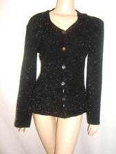 GIORGIO ARMANI Womens 6 8 SEXY BLACK SHIMMER SILVER ITALY Sweater Top Cardigan