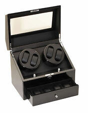 Diplomat Quad 4 + 4 Watch Winder + Storage Black Finish Leatherette Interior
