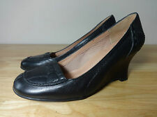 "Womens size 4 shoes ""Clarks"" black leather 2.5 inch wedge ladies court shoes UK4"