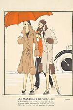 Pochoir Mode Féminine 1927 Manteaux de Velours garniture de fourrure par REDFERN