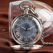 Retro Engraving Roman Numerals Gray Dial Automatic Mechanical Pocket Watch Chain