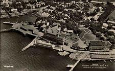 Göteborg Långedrag Schweden Sverige AK ~1940 Flygfoto Fliegerbild Godkänd Hafen