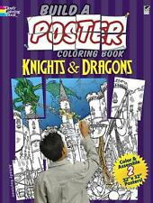 """KNIGHTS & DRAGONS COLORING BK ~ BUILD COLOR & ASSEMBLE 2 32"""" X 32"""" POSTERS"""