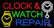 "NEW ""CLOCK & WATCH REPAIR"" 32x17 w/LOGO SOLID/ANIMATED LED SIGN w/OPTIONS 21676"