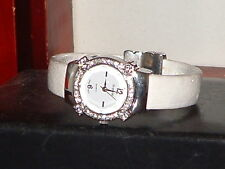 Pre-owned Women's Sophie White Rhinestone Bracelet Fashion Analog Quartz Watch