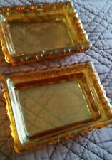 2 x Amber Glass Soap dishes