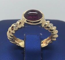 14K YELLOW GOLD RED TOURMALINE AND DIAMONDS BEAUTIFUL RING