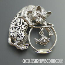 JEZLAINE STERLING SILVER CAT IS CATCHING THE GOLD FISH DANGLE BROOCH PIN #06207
