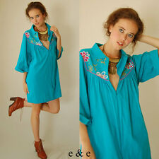 VTG 70s Turquoise Blue Embroidered Floral Mexicana Hippie Tent Mini Dress (m l)