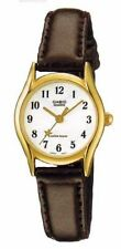 Casio Women's Brown Leather Strap Watch, White Dial, Star, LTP1094Q-7B4