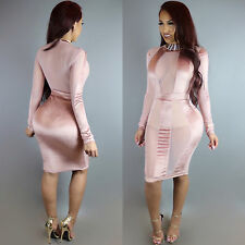 New light pink mesh bodycon midi dress club party wear size UK 10