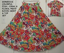 Gorgeous UNDER THE SEA Colorful FISH print RAYON Peasant Skirt & Top SET/S-M