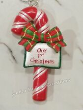 Personalized Candy Cane Ornament - Our 1st Christmas - FREE Shipping