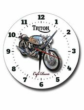 "TRITON CAFE RACER 250MM / 10"" INCHES DIAMETER  METAL CLOCK,VINTAGE MOTORCYCLE."