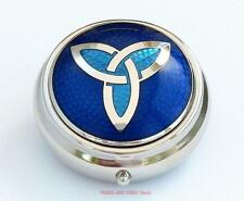 Pill Box TRIQUETRA Celtic Knot Sea Gems blue enamels Silver Plate round 40mm