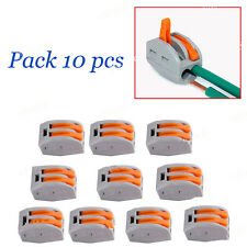 10PCS SPRING LEVER TERMINAL BLOCK ELECTRIC CABLE WIRE CONNECTOR 2 WAY