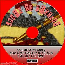 """come Crochet"" STEP BY STEP Guide e 800 + GRANDE Crochet Modelli CD ROM NUOVO"