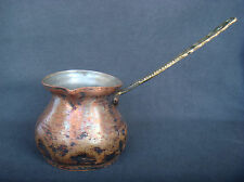 ANTIQUE TINNED COPPER COFFEE POT WITH BRASS HANDLE