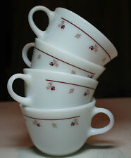 lot 4 vtg Pyrex white milk glass coffee cups dark red burgundy flower rose leaf