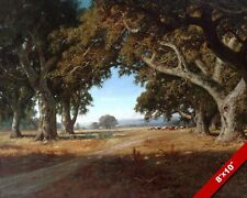 CALIFORNIA CATTLE RANCH & OAK TREES LANDSCAPE PAINTING ART REAL CANVAS PRINT
