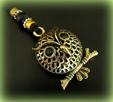 OWL BIRD PENDANT Jewelry ANTIQUE Art Deco Indian style - PUFFY 3-D OWL-Steampunk