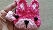 Pink dog crochet handmade coin purse wallet with small heart