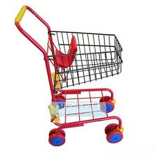 Red Metal Shopping Supermarket Trolley Cart Pretend Play Kids Toy
