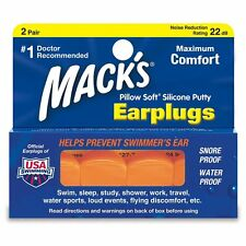 Mack's Pillow Soft Silicone Orange Earplugs for Work, Travel, Sleep (2 Pair)