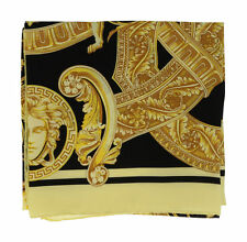 VERSACE 100% Silk Scarf Genuine Made in Italy Black Gold Yellow Baroque RRP£300+