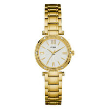 NEW GUESS WATCH Women * Gold Case / Band * White Dial * Crystal Accents U0767L2