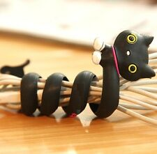 FD2395 Cartoon Earphone Headphone Cable Cord Organize Wrap Wind ~Black Cat~ 1pc