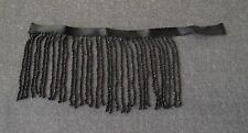 """ANTIQUE EARLY 1900  VICTORIAN BLACK BEADED FRINGE APPLIQUE  7"""""""