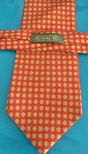 Coach tie for men 100% silk red with brown geometric design guc 3-3/4  x 57