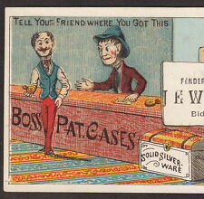 Fenderson Biddeford ME Jewelry Store Boss Gold Watch Case Advertising Trade Card