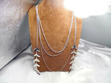 Charming Slim Long String/Strand Metal Leaves Dangle Silver Tone Necklace Vogue