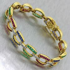 Vintage 18k Solid Yellow Gold .52ctw Diamond Emerald Sapphire Ruby Bracelet