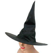 WITCH HAT BLACK NYLON PLAIN HALLOWEEN FANCY DRESS