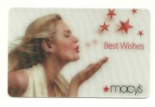 Macy's Model Best Wishes Lenticular Used Gift Card No $ Value Collectible Macys