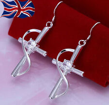 925 Sterling Silver Crystal Cross Earrings Pretty Swirl Dangle Free Gift Bag UK