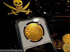 """SPAIN 1712 GOLD 8 ESCUDOS """"2ND FINEST KNOWN- PHILIP V"""" NGC 61 COB DOUBLOON COIN"""