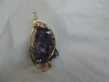 Huge Vintage Amethyst Crystal Pendant Wire Wrapped Jewelry (tr001)