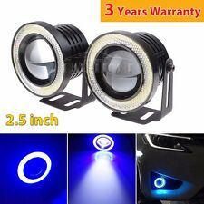 2x Car Fog Light COB LED Projector Blue Angel Eye Halo Ring DRL Driving Bulb 20W