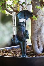 Frog Decorative Rain Gauge Polystone Metal Glass Made Home Decoration Quality
