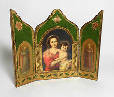 VINTAGE FLORENTINE ITALY WOOD GILT GOLD ICON triptych Italian Madonna & Child