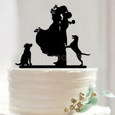 Our Stunning Silhouette Bride & Groom Pet Dog Wedding Engagement Cake Topper
