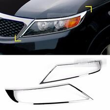 Chrome Front Head Lamp Molding Trim Garnish Cover 2P for KIA 2010-2014 Sorento