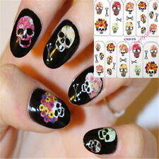 2 Sheets Nail Art Water Transfer Stickers Skull Halloween Flower Decoration