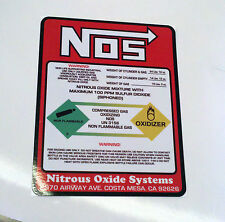 "NOS Nitrous Oxide 10lb Bottle Label Decal Superb-BEST Quality Decal 5.5"" X 7"""